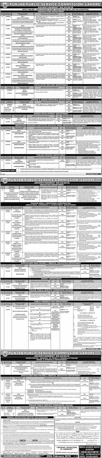 Government Jobs in PPSC Jobs in Punjab 2018
