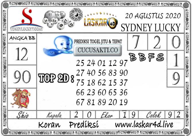 Prediksi Sydney Lucky Today LASKAR4D 20 AGUSTUS 2020