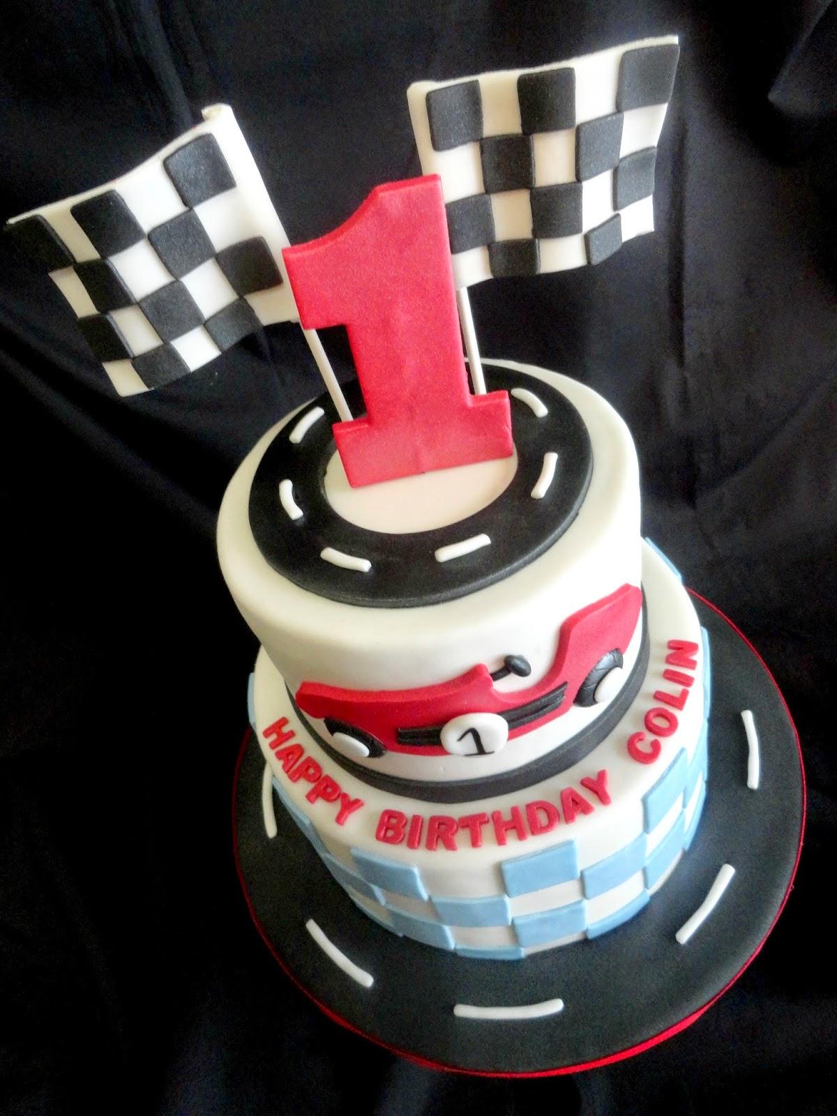 Pink Little Cake Race Car Theme 1st Birthday Cake