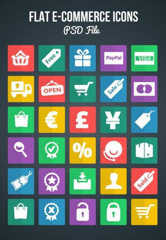 Free Flat eCommerce Shopping Icons (PSD)