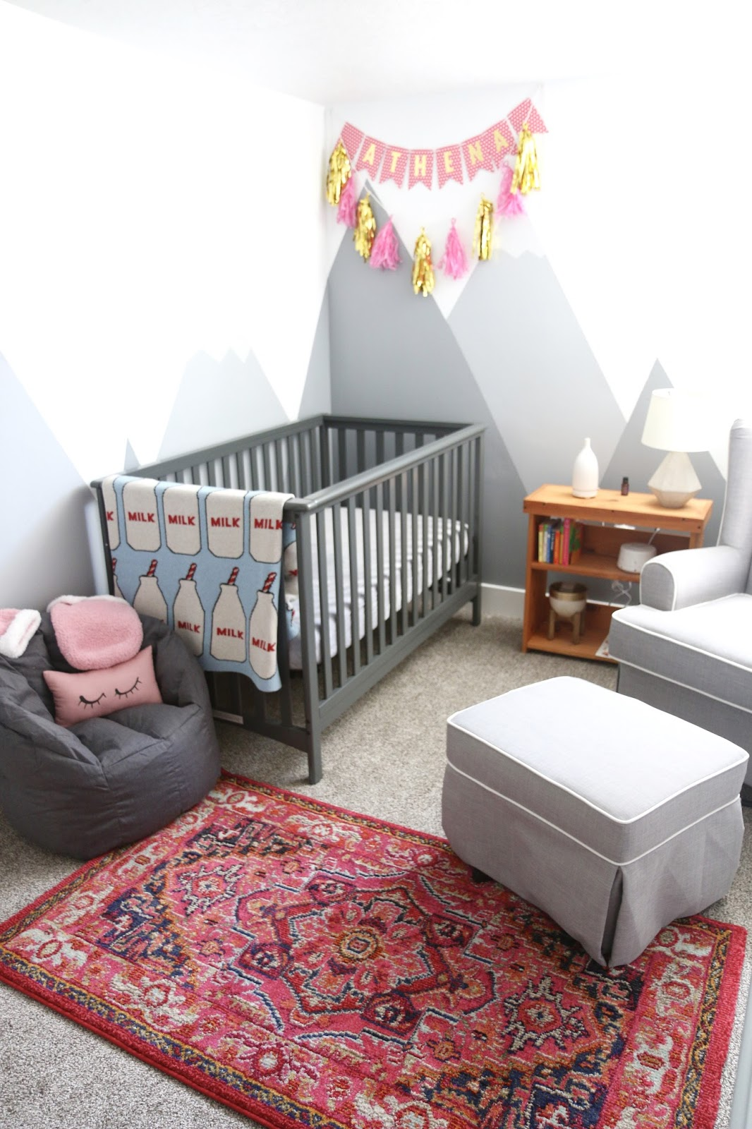 mountain mural walls nursery, baby girl, Gray nursery, neutral nursery