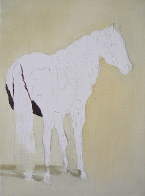 painting of chestnut horse, work-in-progress