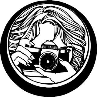Clipart images of a closeup black and white illustration of a woman taking a photo