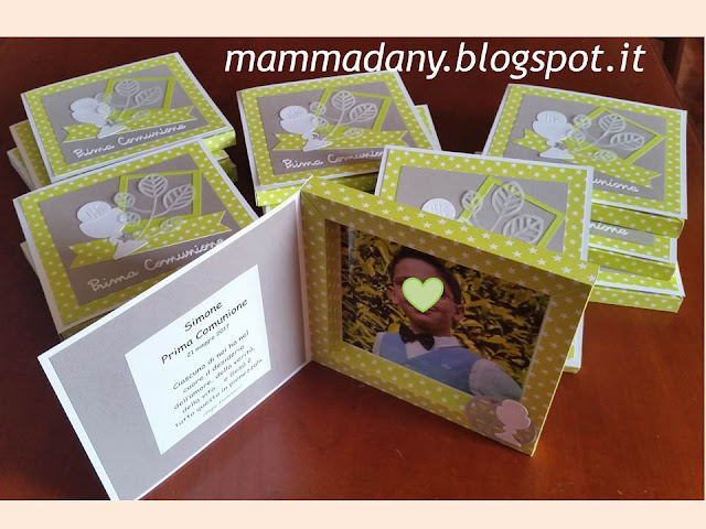 Interno shadow box card Prima Comunione