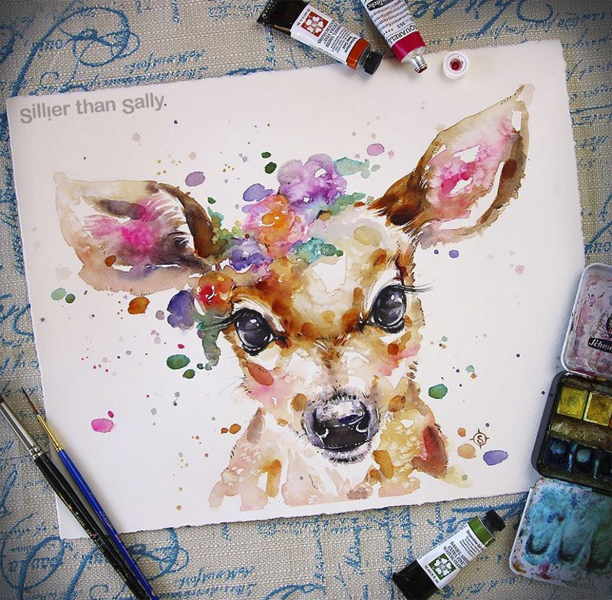 04-Deer-Sally-Walsh-sillierthansally-Watercolour-Portraits-Paintings-of-Wildlife-www-designstack-co