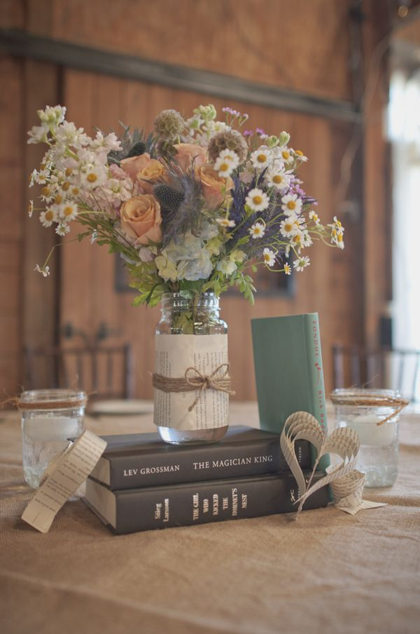 Rustic Themed Wedding Centrepieces Ideas Photo Img Source Http Diybride Blog 2017 05 08 Genevieve Seans Diy Retro Book Inspired