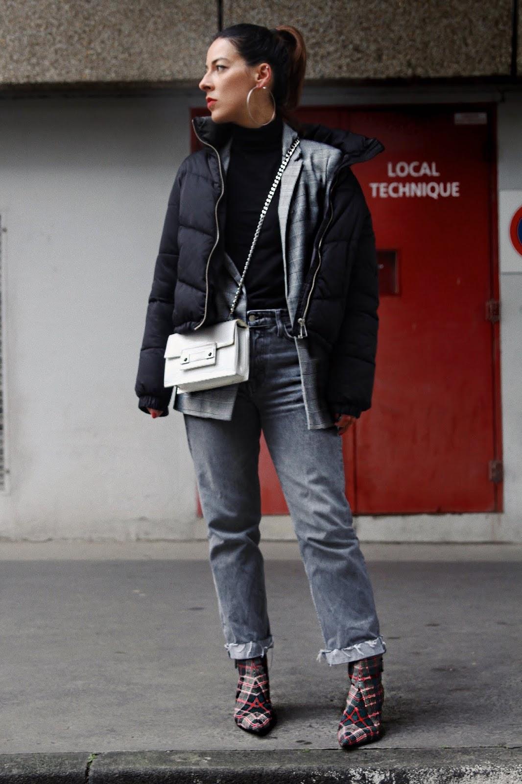 tendance carreaux, idée de look,2019, doudoune noir