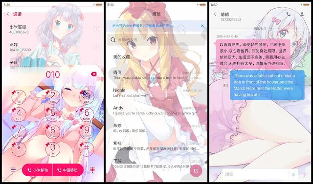Tampilan Dialpad, SMS Tema Anime Eromanga Sensei Xiaomi