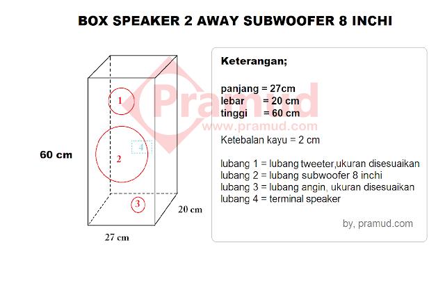 ukuran luar box speaker subwoofer 2 away 8 inchi untuk ruangan