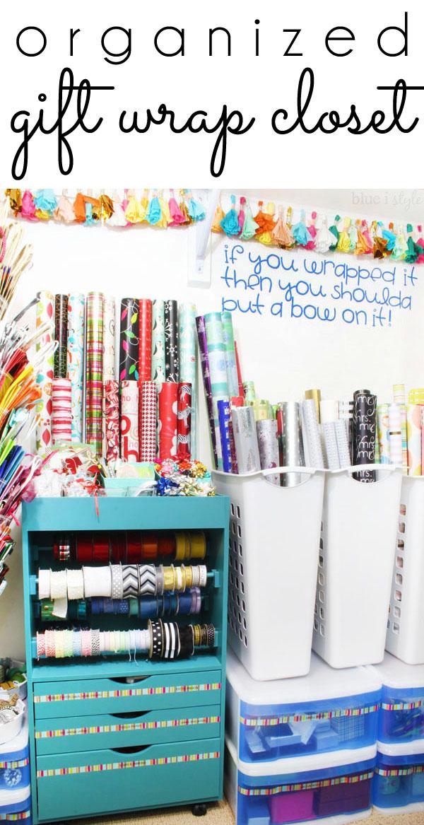 Organized Gift Wrap Closet