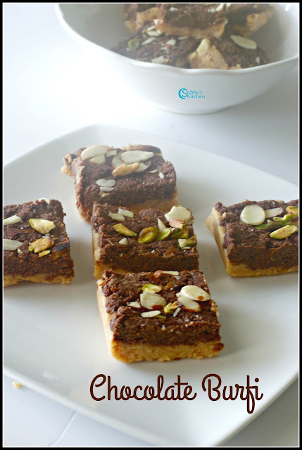 Chocolate Khoya Burfi | Double Layered Chocolate Burfi Recipe