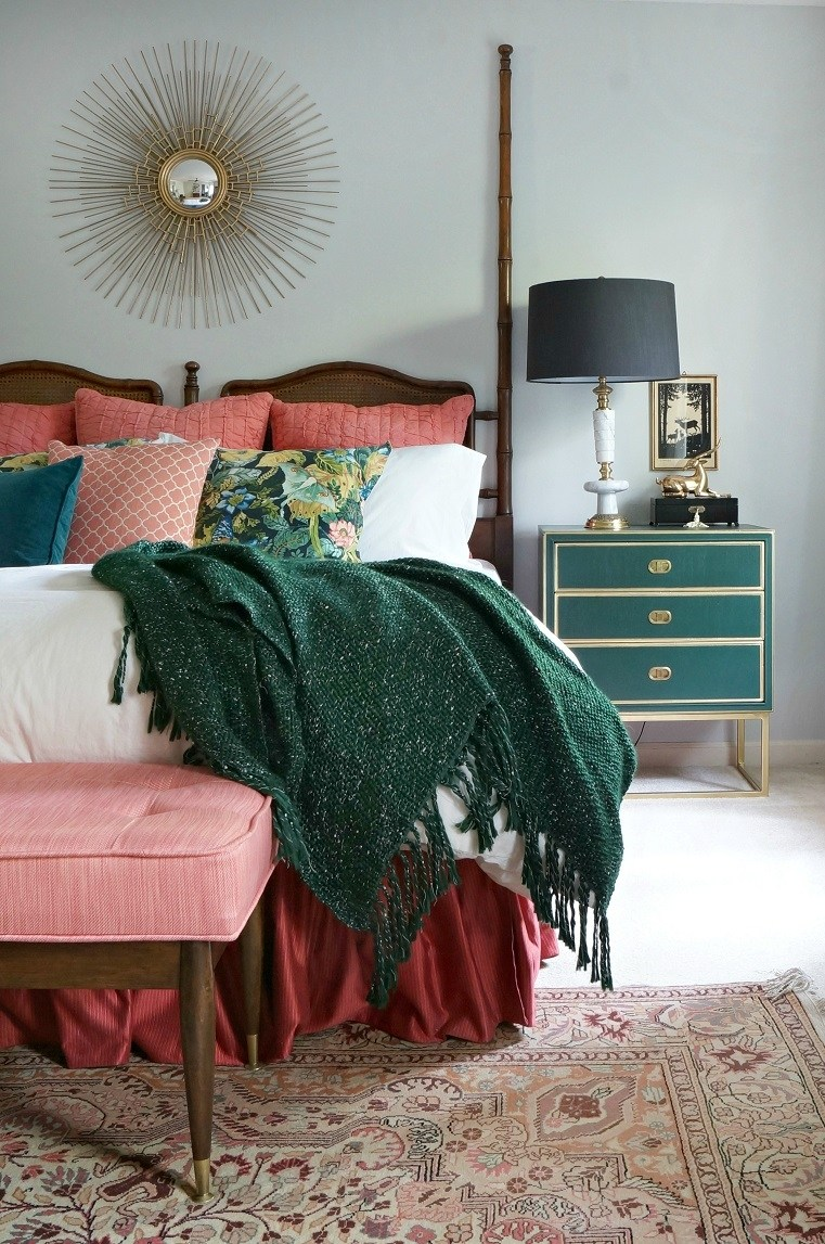 one room challenge mid century modern bohemian vintage eclectic tropical interior design