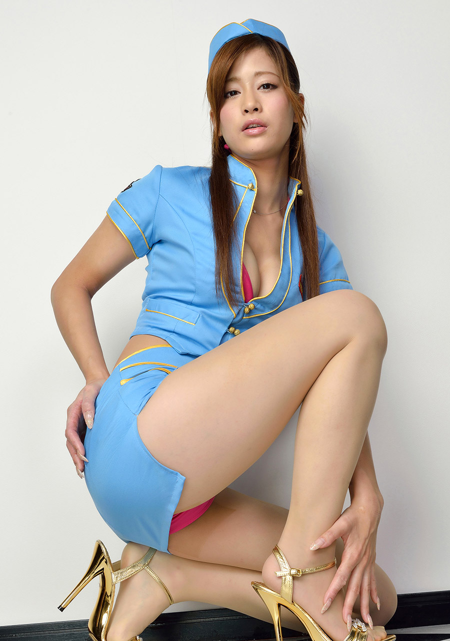 ami kawase sexy flight attendant dress 02