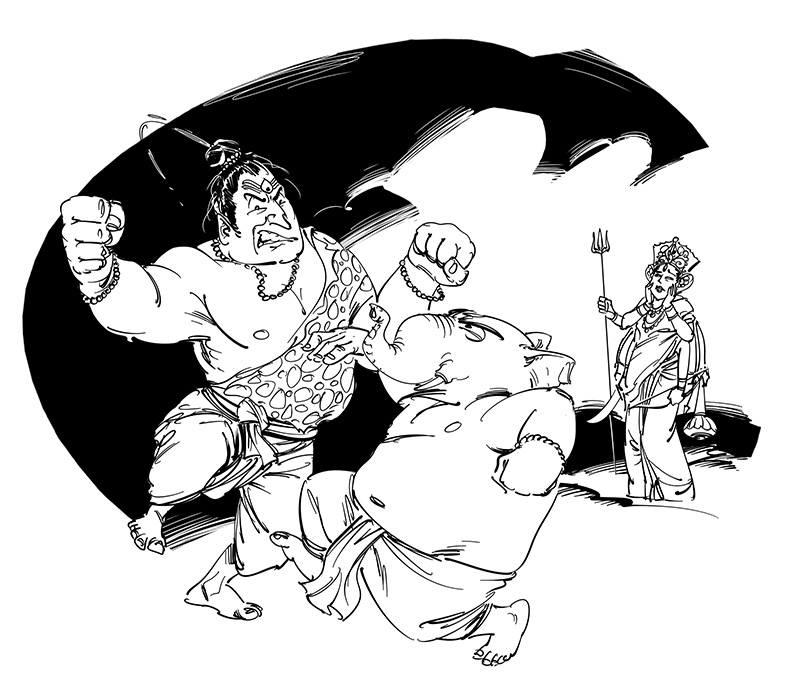 bengali story shiva ganesha cartoon illustration