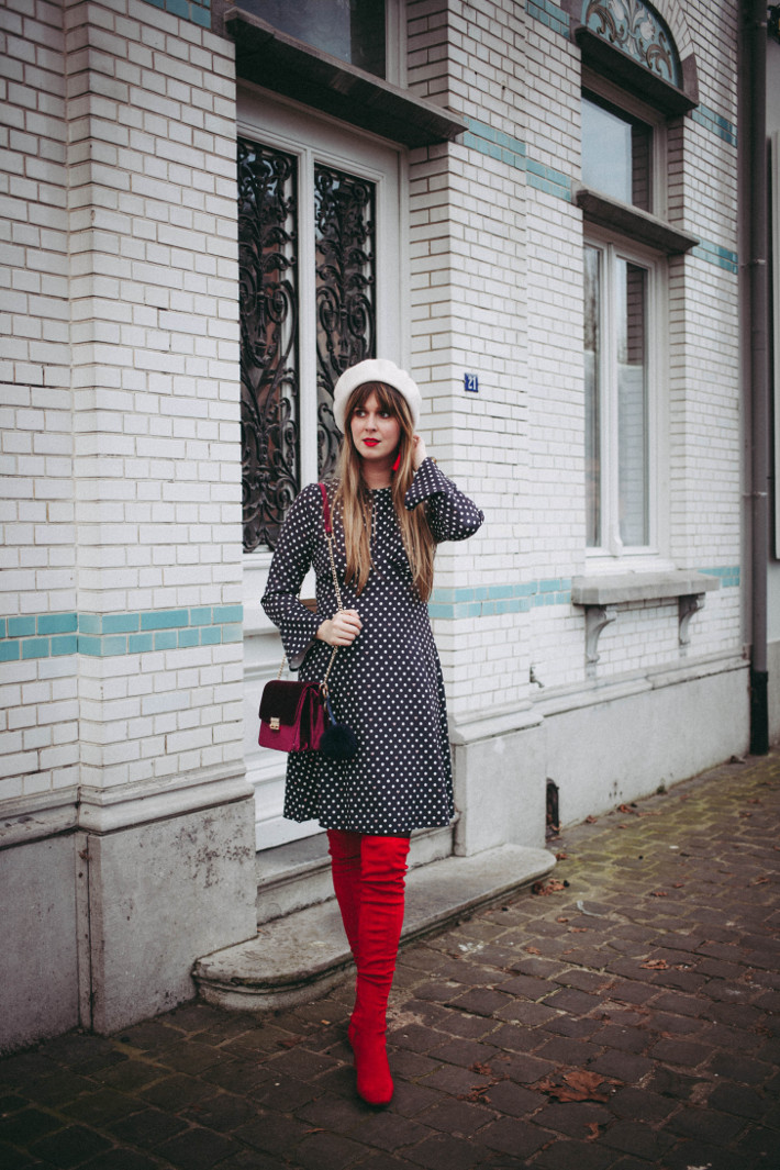 Outfit: polkadots and red boots