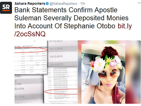 Sahara Reporters releases bank statements claiming it confirms Apostle Suleman deposited money into account of Stephanie Otobo