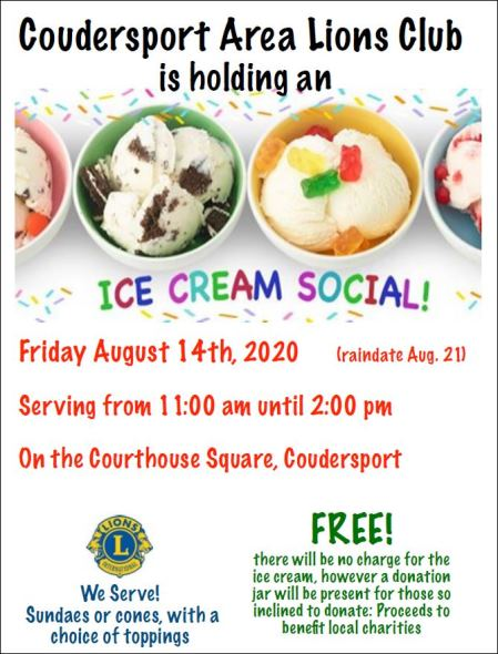 8/14 Lions Club Ice Cream Social