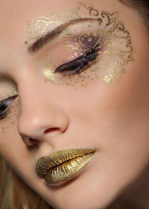 maquillaje dorado año nuevo