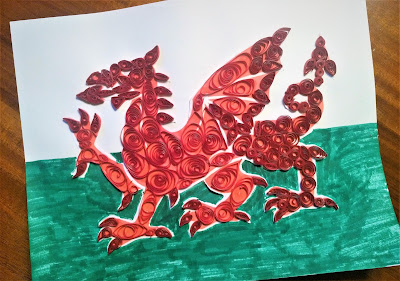 Flag of Wales, dragon is paper quilling