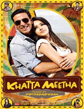 Poster Of Khatta Meetha 2010 Hindi 650MB HDRip 720p ESubs HEVC Watch Online Free Download downloadhub.in