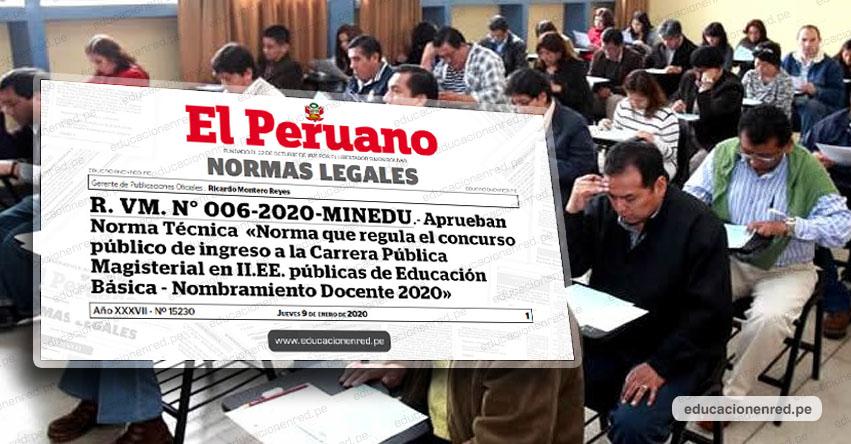 YA ES OFICIAL: Nuevo Concurso para Nombramiento Docente 2020 (INSCRIPCIONES - NORMA TÉCNICA) MINEDU - www.minedu.gob.pe