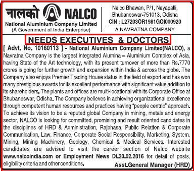 NALCO Latest Executives & Doctors Recruitment February 2016