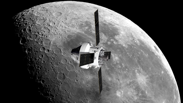 An artist's concept of the Orion spacecraft flying over the Moon.