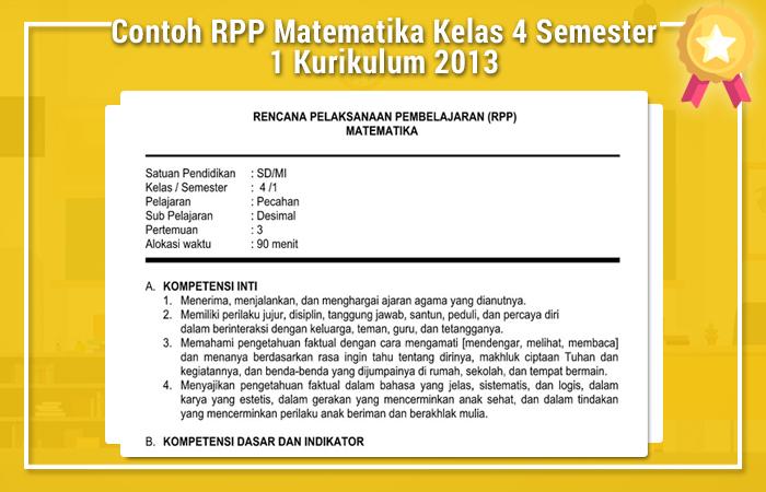 Contoh RPP Matematika Kelas 4 Semester 1 Kurikulum 2013