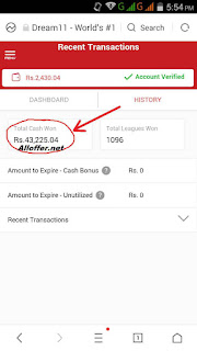 dream11 won more than 40,000