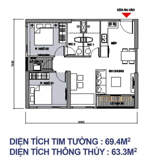 Căn 2 PN + 2 WC - 63,3m2