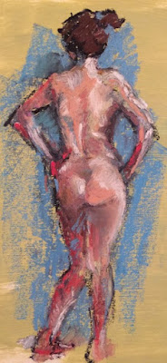 loosely drawn oil pastel nude on pale green