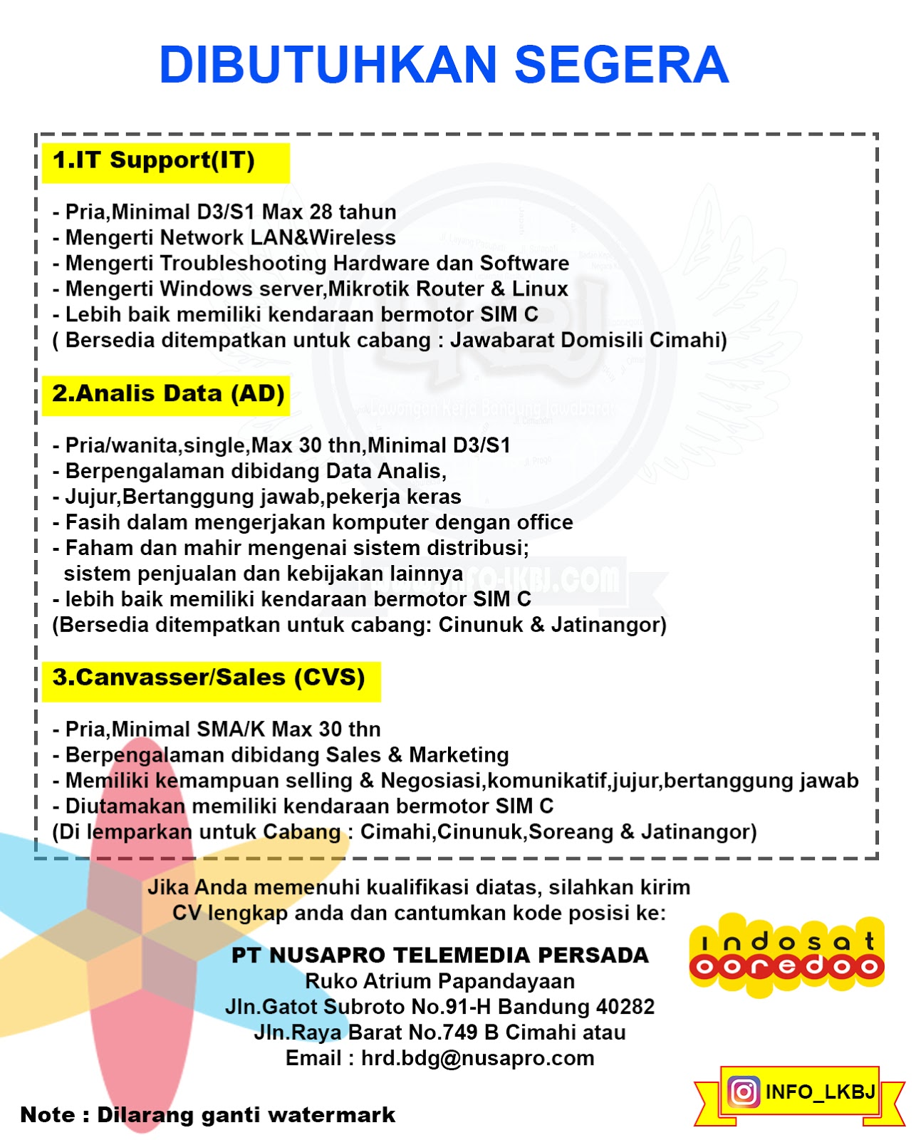 Pt Nusapro Telemedia Persada Lowongan Kerja Bandung Jawabarat