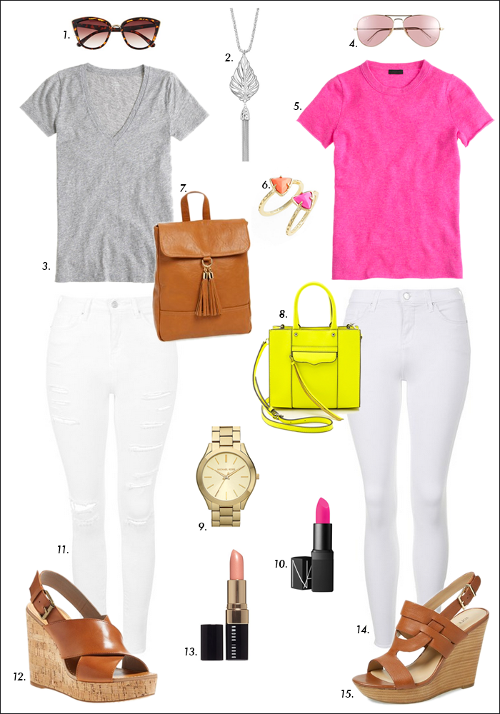 white denim, sole society wedges, mini tote, neon yellow, spring 2015 trends