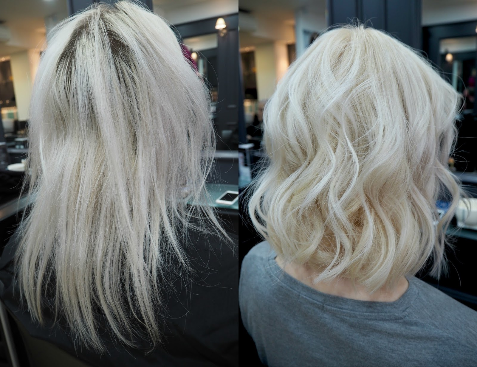 Before and after my LOB, blonde platinum hair