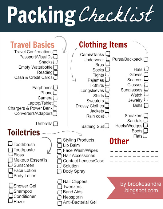 Packing Checklist - Free Printable