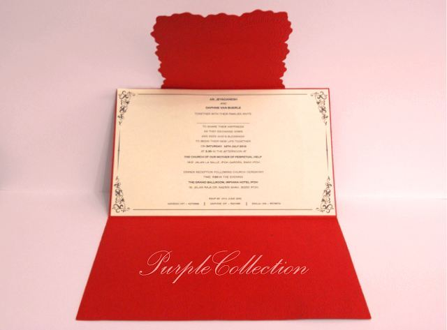Hot Stamping Swirls Red Theme Wedding Invitation Card, Hot, Hot Stamping, Stamping, Hot Stamping Swirls, Red, Wedding, Marriage, invitation