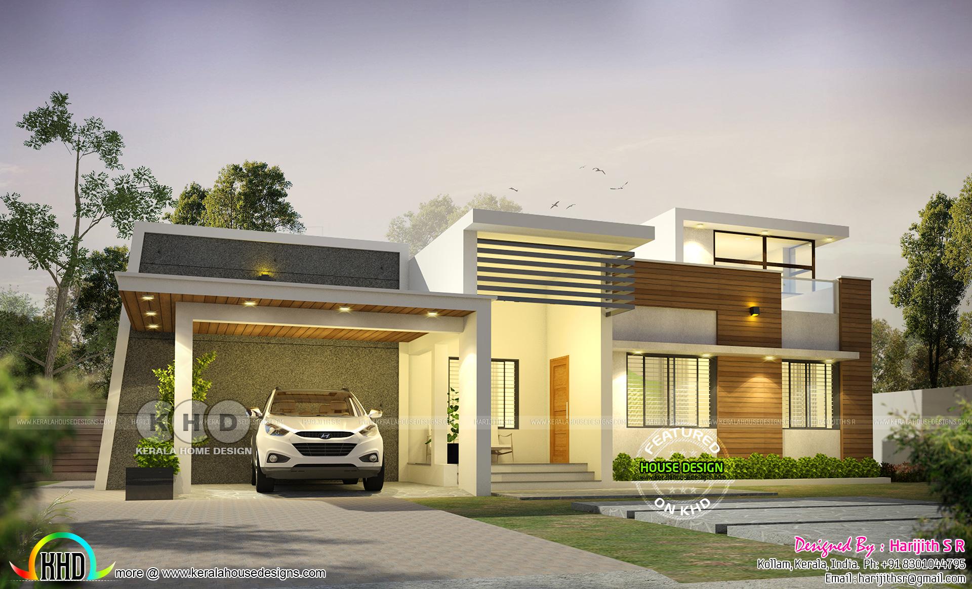1600 sq-ft modern single floor Kerala home - Kerala home ...