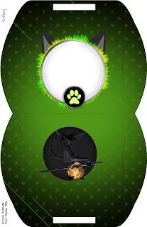 Caja tipo almoada de Cat Noir para imprimir gratis.