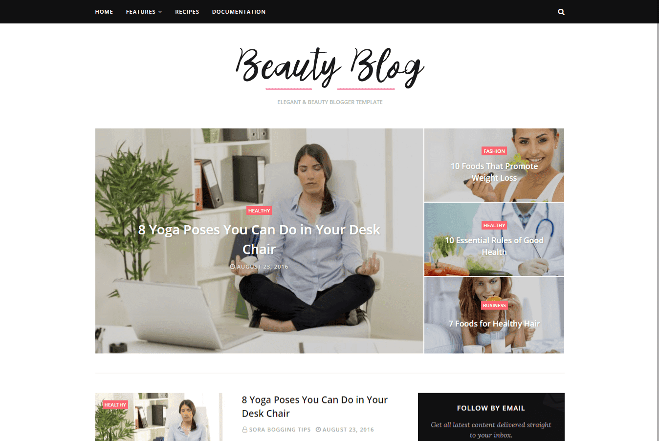 Beauty Blog Clean Blogger Template