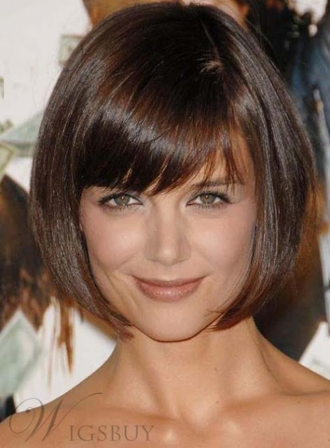 Super Sweet Bob Hairstyle Natural Brown Wig For Sweetheart-Price:USD$56.42