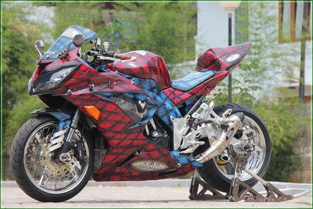 Dobel Cakram Dengan Airbrush merah Mirip Ular - Contoh Gambar Dan Foto Konsep Desain Modifikasi Kawasaki Ninja 4 Tak 250cc Sporti Ala Moge Keren Banget