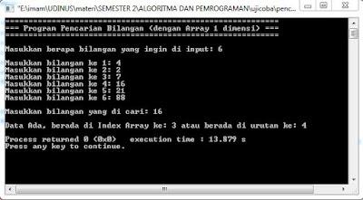 Program Pencarian Bilangan (dengan Array 1 dimensi)