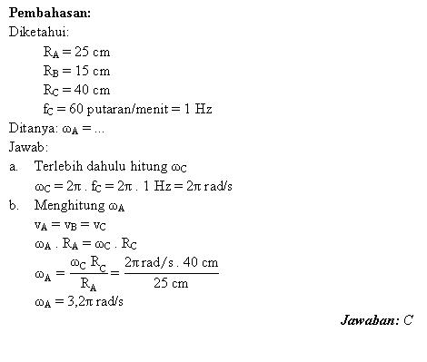 Menghitung kecepatan sudut tiga roda saling berhubungan
