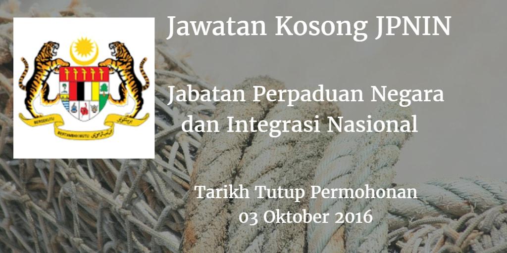 Jawatan Kosong JPNIN 03 Oktober 2016