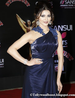 Urvashi Rautela in stunning Blue gown at Sansui Colors Stardust Awards
