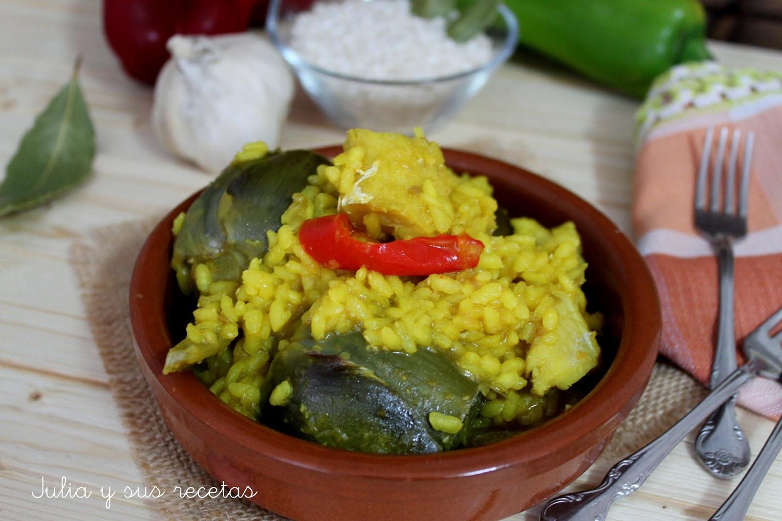 Arroz con alcachofas y bacalao. Julia y sus recetas