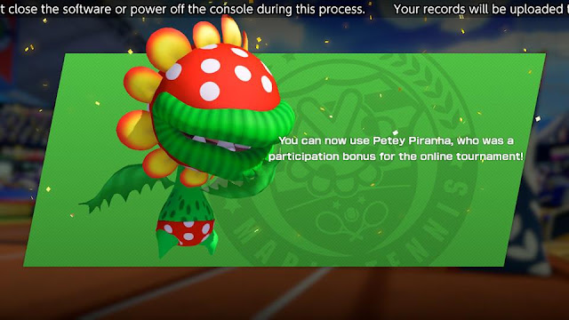 Mario Tennis Aces Petey Piranha unlocked participation bonus December 2018 online tournament
