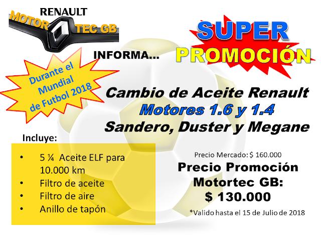Promocion Cambio de Aceite Renault Motores 1.6 y 1.4 Motortec GB