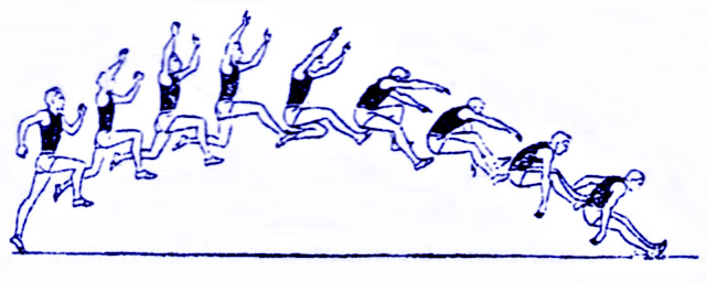 Salto largo atletismo pasos gesto técnico agrupado