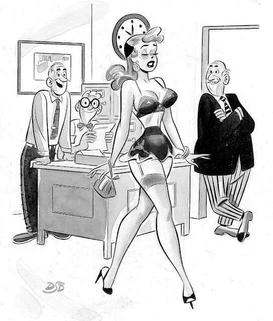 a Dan Decarlo cartoon for a men's magazine, sexy cartoon woman